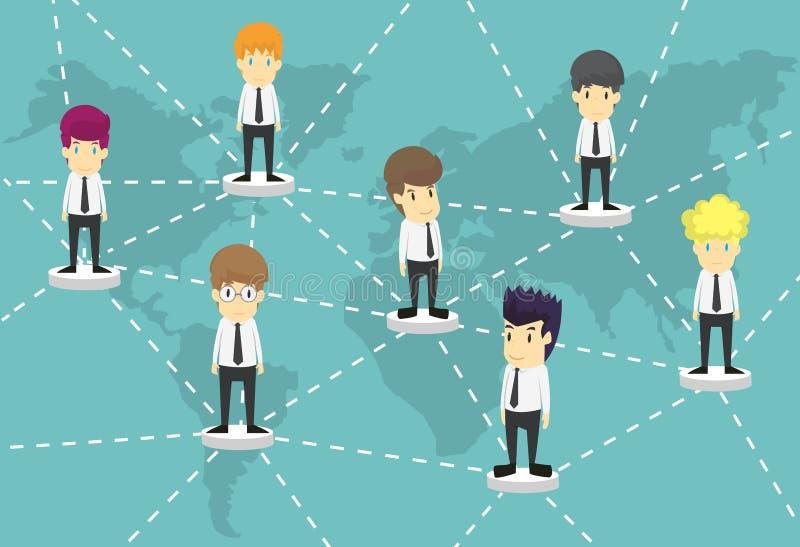 Hombres de negocios de las personas con la correspondencia de mundo Historieta del éxito empresarial stock de ilustración