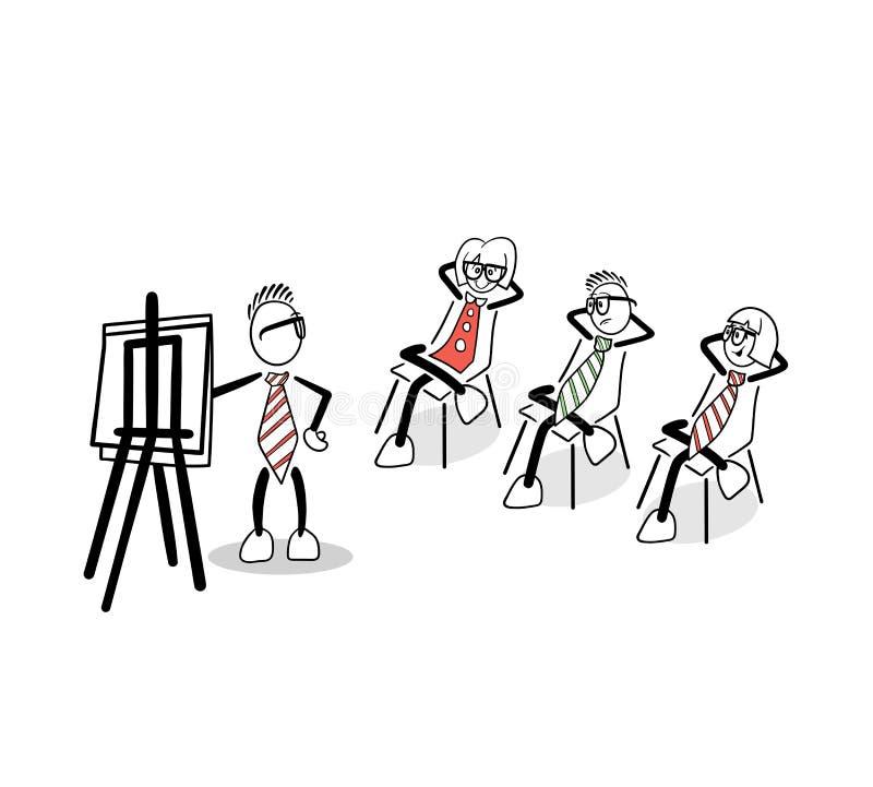 Hombres de negocios lindos de la historieta en una presentación stock de ilustración
