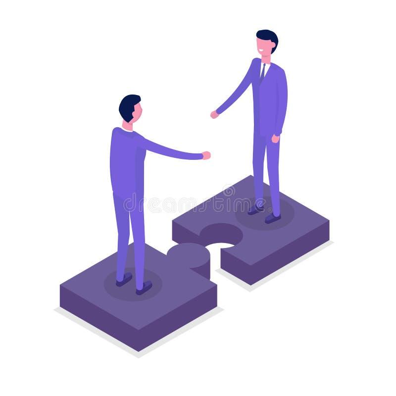 Hombres de negocios de los caracteres isométricos, colega Concepto del trabajo en equipo y de la sociedad Ejemplo isométrico plan stock de ilustración