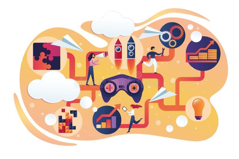 Hombres de negocios de los caracteres que se mueven en juego de ordenador stock de ilustración