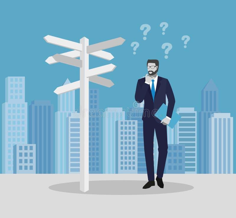 Hombres de negocios de los conceptos Hombre de negocios que se coloca contra la perspectiva de la ciudad y que mira flechas direc ilustración del vector