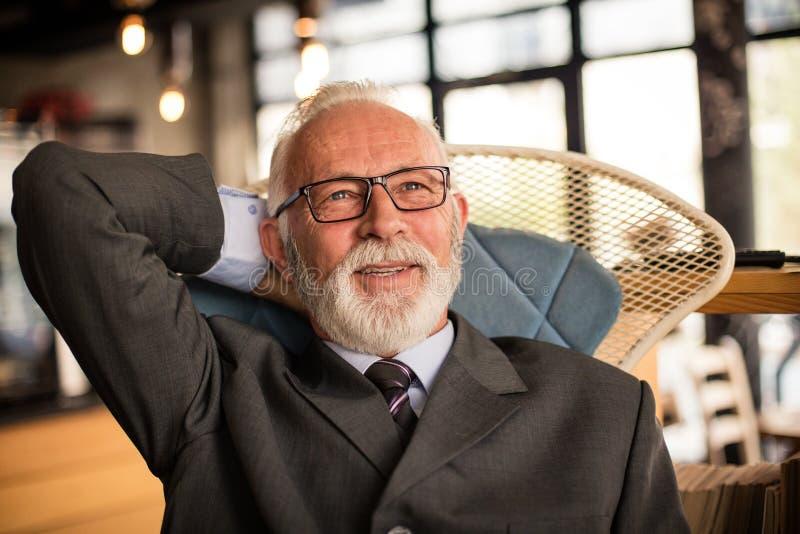 Hombres de negocios mayores acertados Retrato fotos de archivo