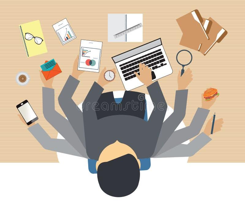 Hombres de negocios ocupados que trabajan difícilmente ilustración del vector