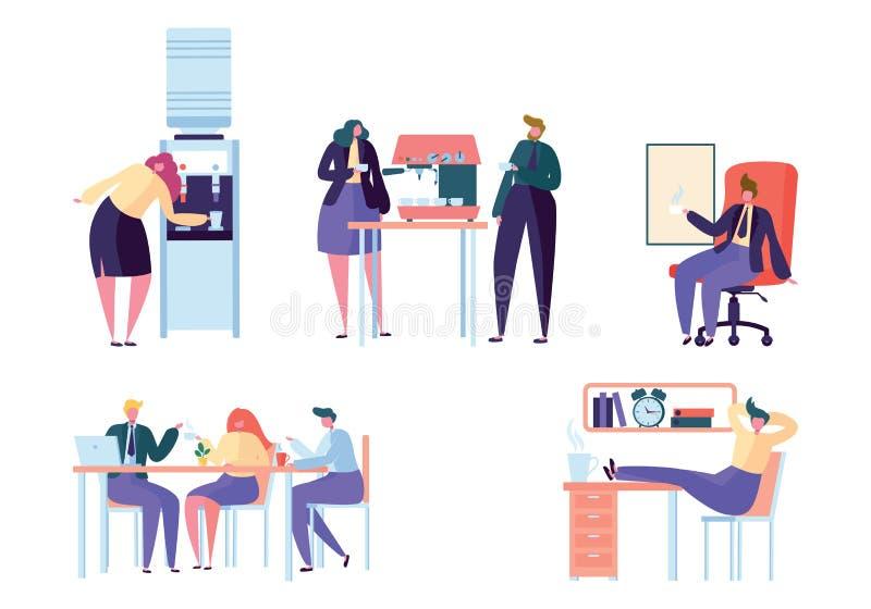 Hombres de negocios planos del diseño del trabajo del descanso para tomar café ilustración del vector