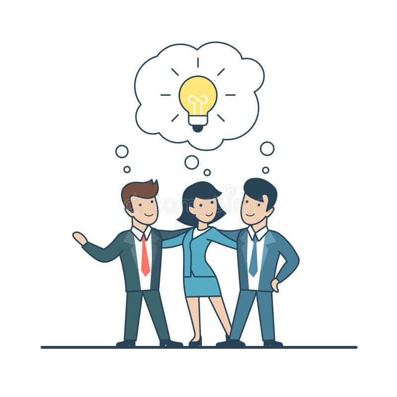 Hombres de negocios planos lineares de la idea, vector de la charla de la lámpara ilustración del vector