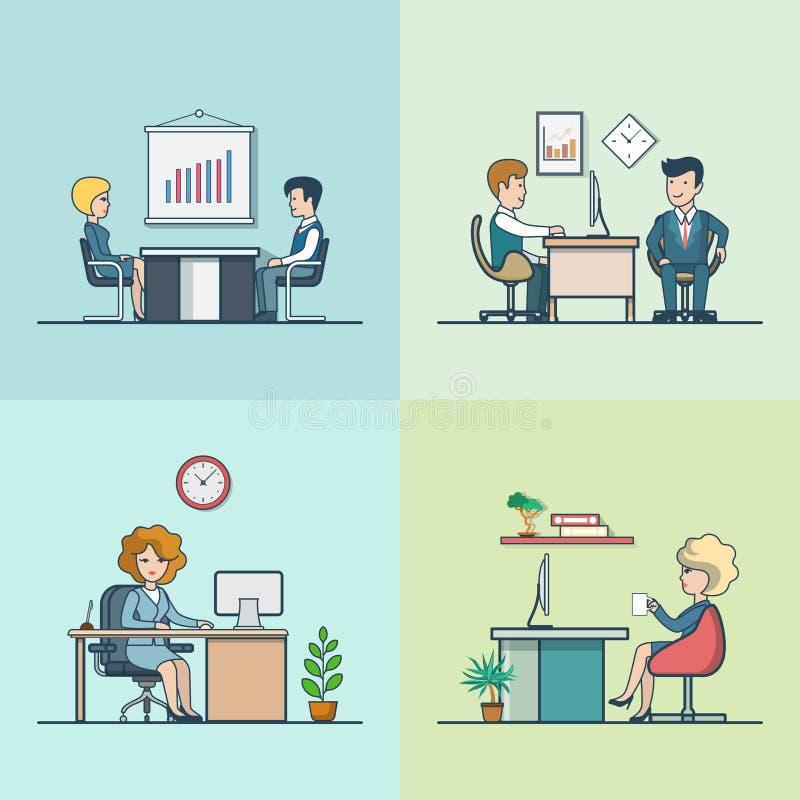 Hombres de negocios planos lineares que trabajan cuartos de la oficina stock de ilustración