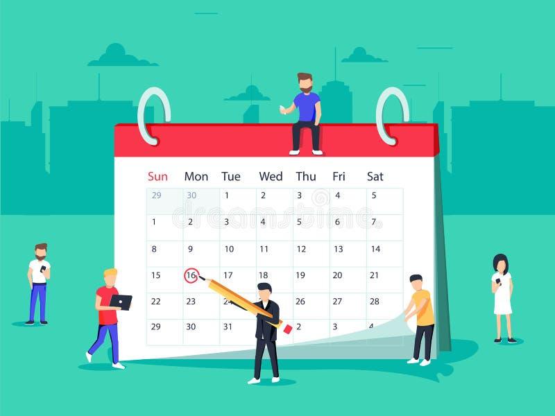 Hombres de negocios planos que planean y operación del Scheduling dibujando la marca del círculo en calendario de escritorio libre illustration