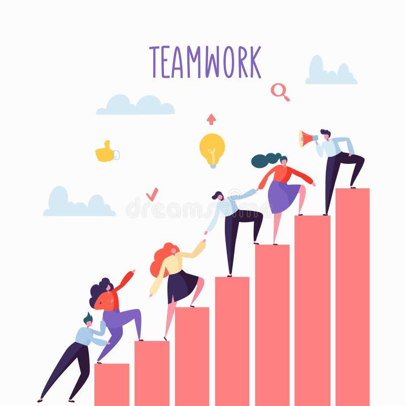 Hombres de negocios planos que suben para arriba las escaleras Escalera de la carrera con los caracteres Team Work, sociedad, con stock de ilustración