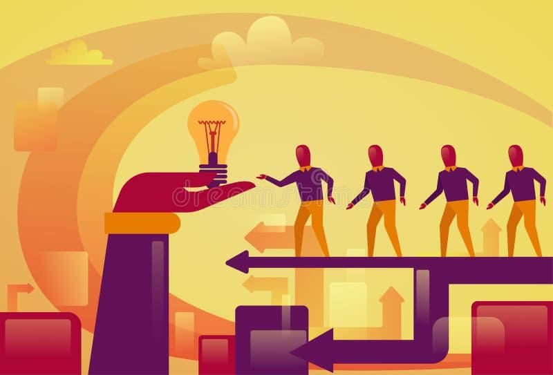 Hombres de negocios que caminan para resumir la mano que lleva a cabo nuevo concepto de lanzamiento del desarrollo de la idea de  stock de ilustración