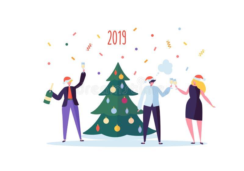 Hombres de negocios que celebran el partido del Año Nuevo 2019 Caracteres planos en Santa Hat Toasting Champagne Muchos ornamento libre illustration