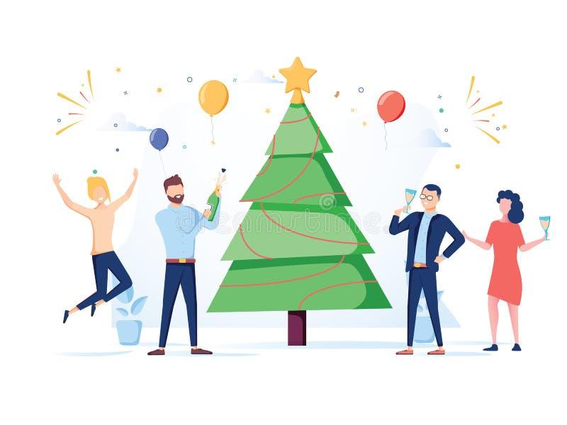 Hombres de negocios que celebran el partido del Año Nuevo 2019 Caracteres planos en Santa Hat Toasting Champagne Muchos ornamento ilustración del vector
