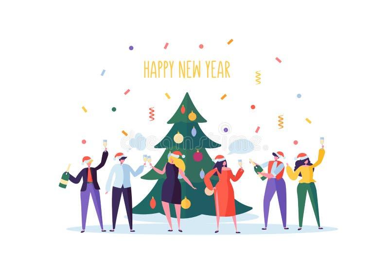 Hombres de negocios que celebran el partido del Año Nuevo Caracteres planos en Santa Hat Toasting Champagne Nochebuena con las hi libre illustration