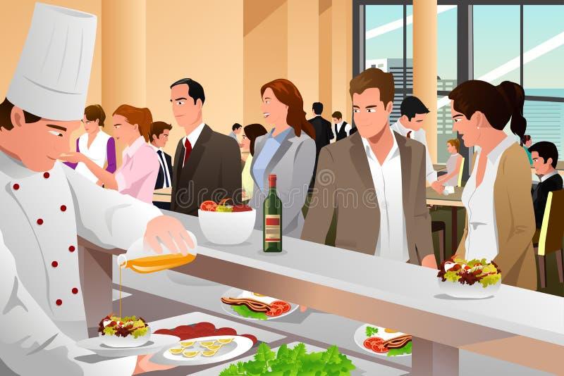 Hombres de negocios que comen en una cafetería ilustración del vector