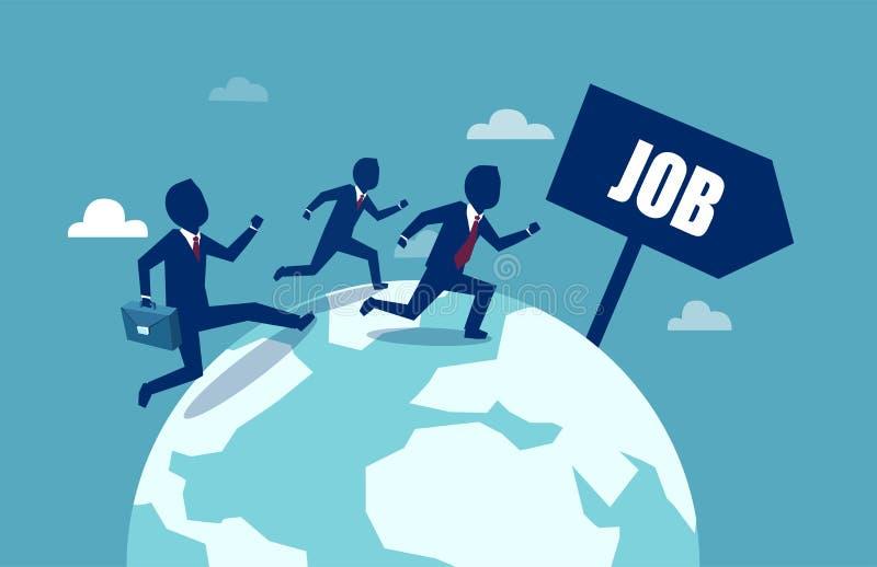 Hombres de negocios que corren en todo el mundo en la búsqueda para un mejor trabajo stock de ilustración