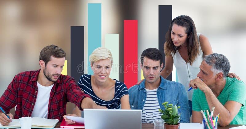 Hombres de negocios que discuten contra gráfico ilustración del vector