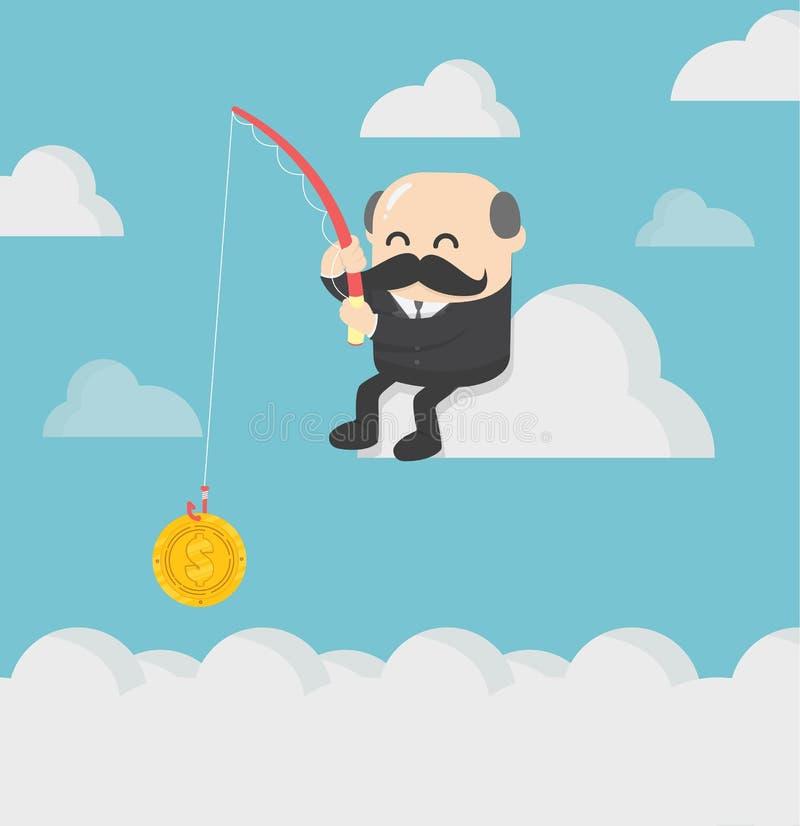 Hombres de negocios que están pescando para el beneficio en el mercado de acción ilustración del vector