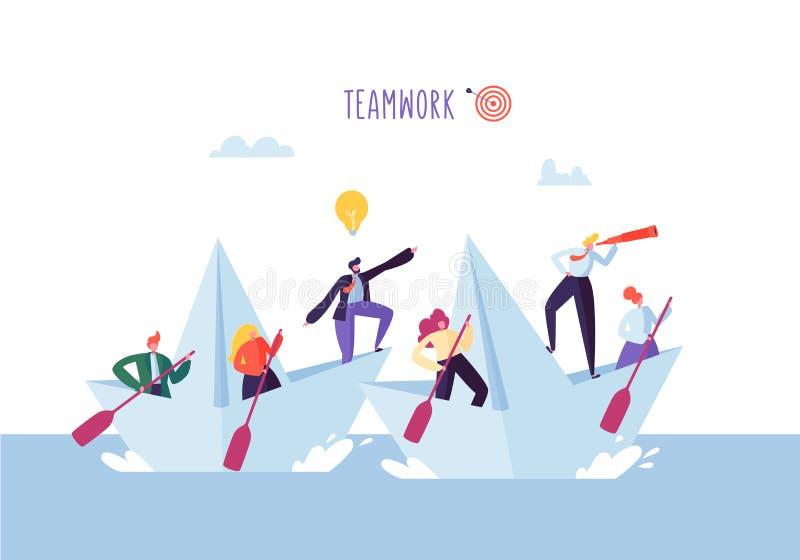 Hombres de negocios que flotan en una nave de papel Caracteres planos con la navegación del catalejo en los barcos Team Work Lead ilustración del vector