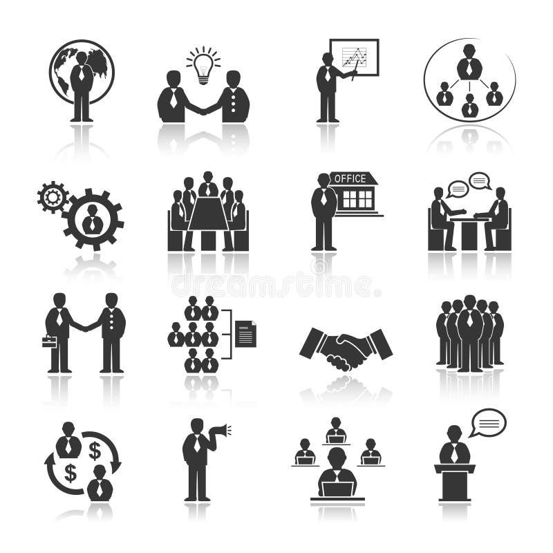 Hombres de negocios que hacen frente a los iconos fijados libre illustration