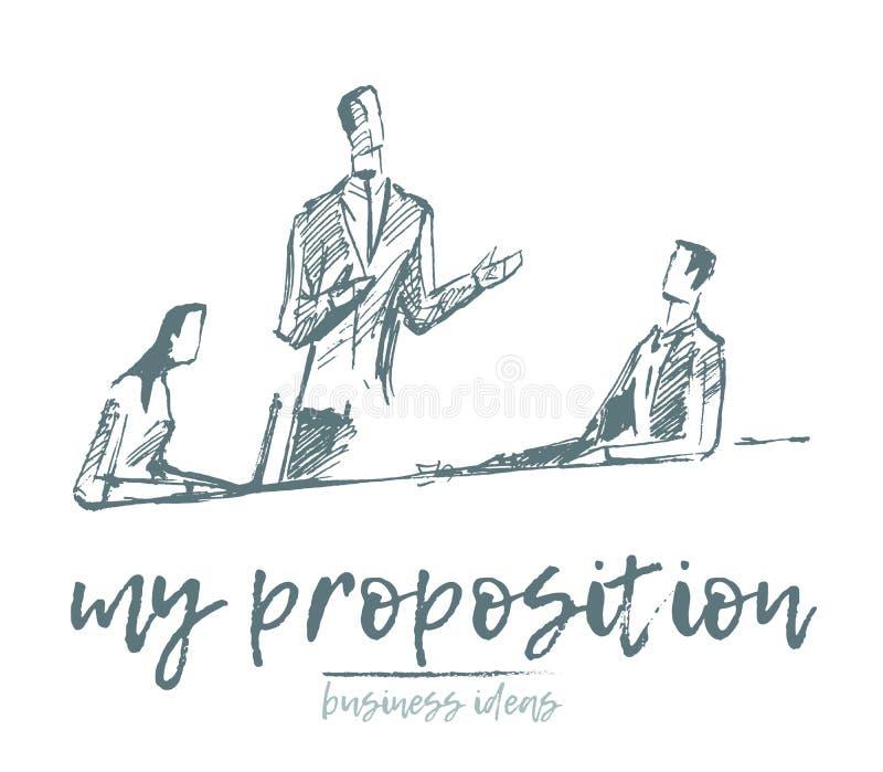Hombres de negocios que hacen frente a vector del concepto del trabajo del equipo stock de ilustración