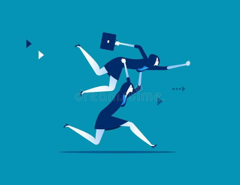 Hombres de negocios que levantan al colega Ejemplo del vector del negocio del concepto libre illustration