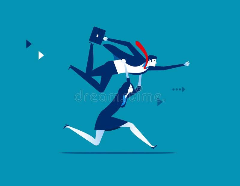 Hombres de negocios que levantan al colega Ejemplo del vector del negocio del concepto stock de ilustración