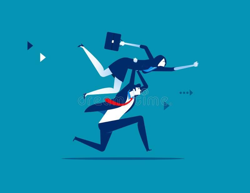 Hombres de negocios que levantan al colega Ejemplo del vector del negocio del concepto ilustración del vector