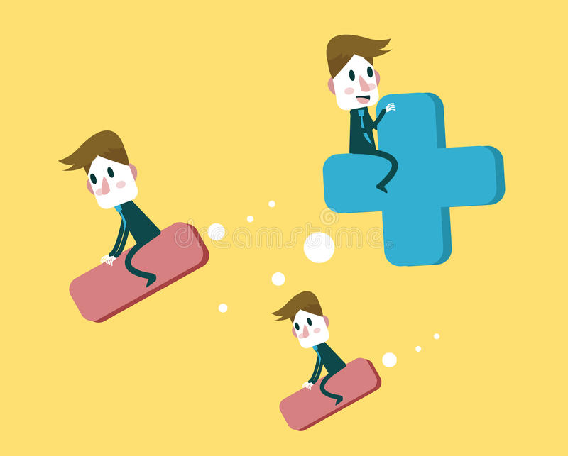 Hombres de negocios que libran la muestra Positivo y concepto de pensamiento negativo stock de ilustración