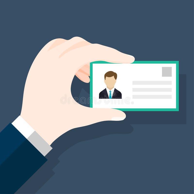 Hombres de negocios que llevan a cabo diseño plano del tarjeta-vector en blanco stock de ilustración