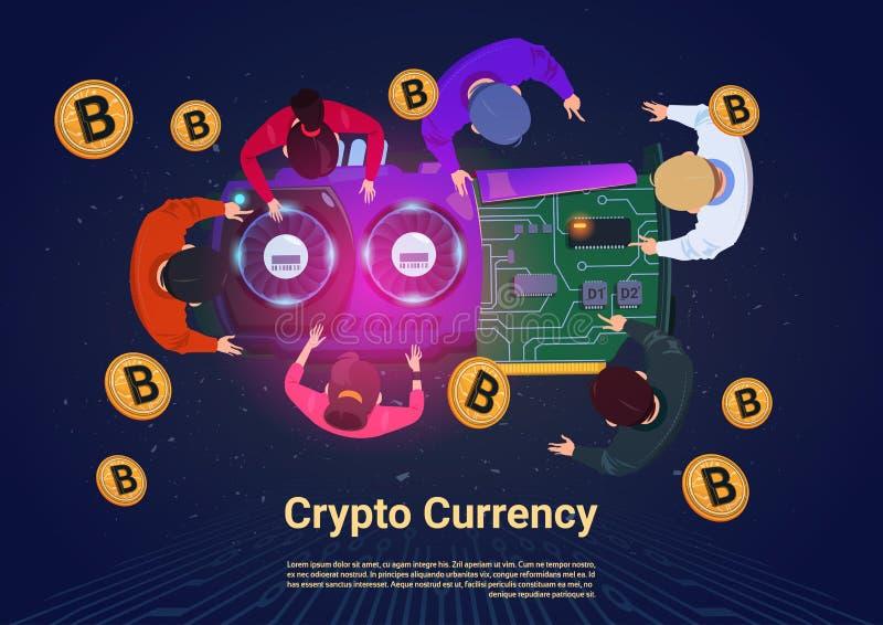 Hombres de negocios que minan concepto Crypto de la moneda de la opinión de ángulo superior de Bitcoins ilustración del vector