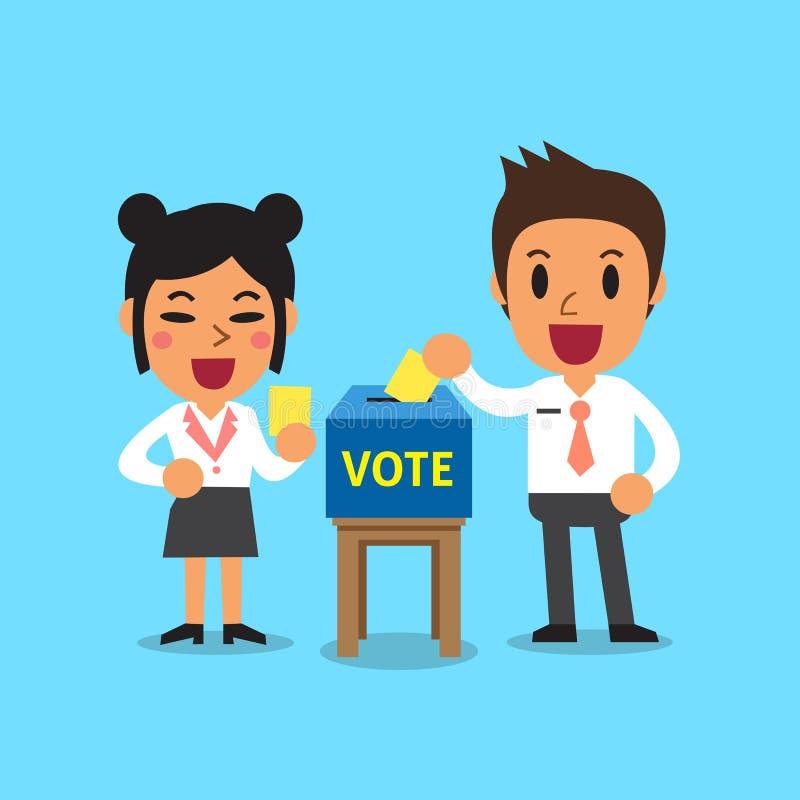 Hombres de negocios que ponen el papel de votación en la urna stock de ilustración