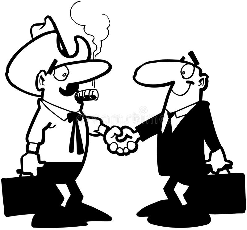 Hombres de negocios que sacuden el vector Clipart de la historieta de las manos ilustración del vector