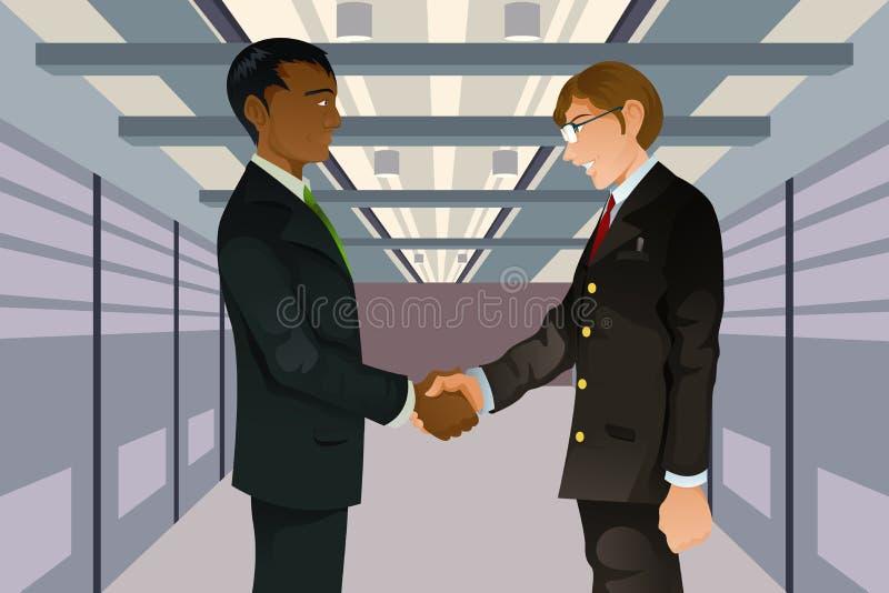 Hombres de negocios que sacuden las manos stock de ilustración