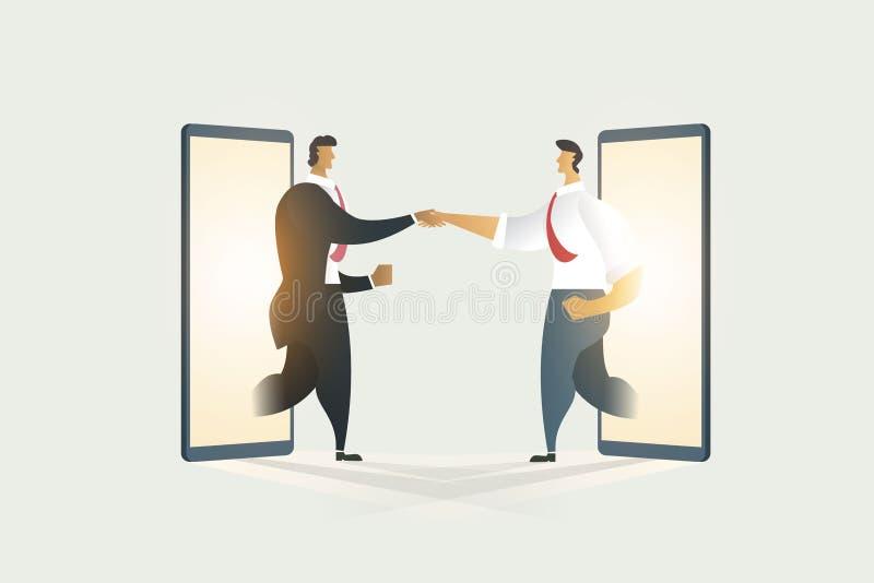 Hombres de negocios que sacuden las manos con la cooperaci?n en m?vil de la exhibici?n Ejemplo - vector ilustración del vector