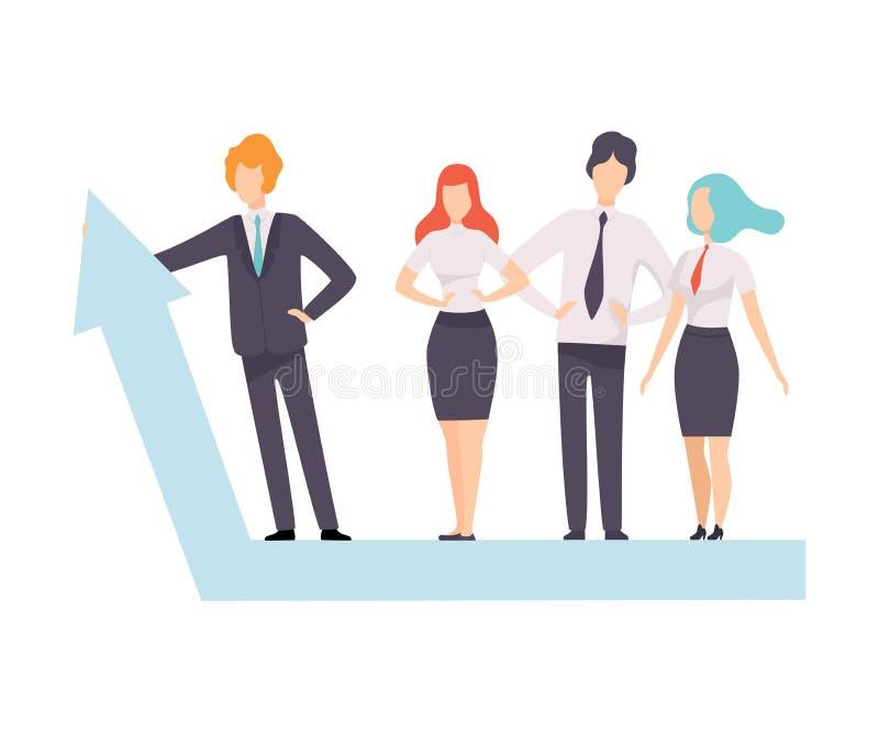 Hombres de negocios que se colocan en el gráfico de la flecha del crecimiento, negocio acertado Team Vector Illustration stock de ilustración
