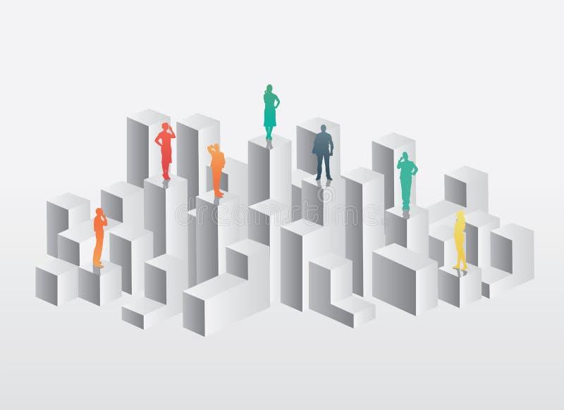 Hombres de negocios que se colocan en la estructura stock de ilustración
