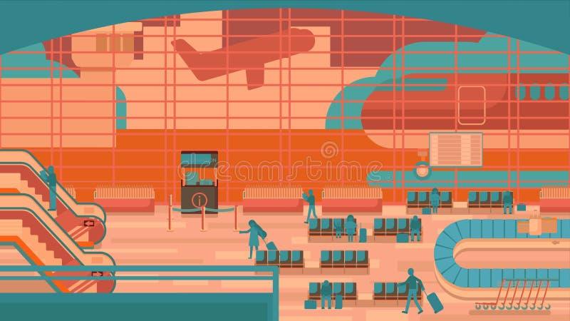 Hombres de negocios que se sientan y que caminan en el terminal de aeropuerto, concepto del viaje de negocios Ejemplo plano del d libre illustration