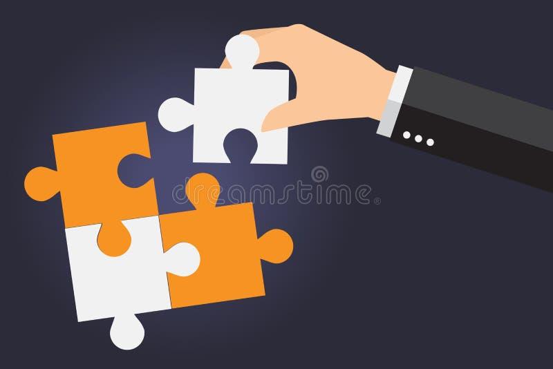 Hombres de negocios que solucionan el rompecabezas de gran tamaño junto stock de ilustración