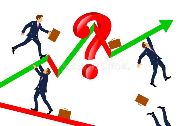 Hombres de negocios que suben para arriba la carta financiera abstracta con la flecha imagenes de archivo