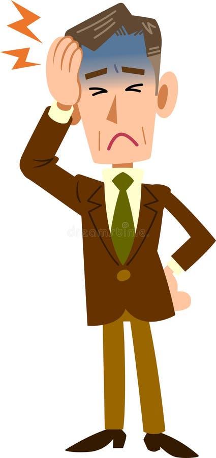 Hombres de negocios que sufren de edad madura del _del dolor de cabeza stock de ilustración