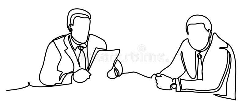 Hombres de negocios que tienen discusión en la mesa de reuniones en oficina Ejemplo profesional del vector aislado en blanco stock de ilustración