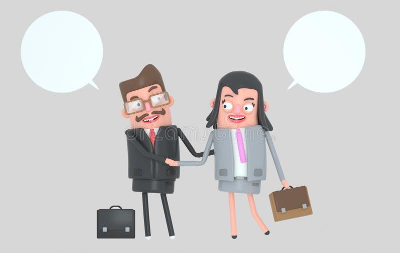 Hombres de negocios que tienen un trato Sacudida de las manos illustratiion 3d stock de ilustración