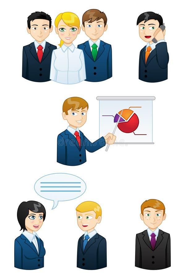Hombres de negocios que trabajan el sistema del icono stock de ilustración