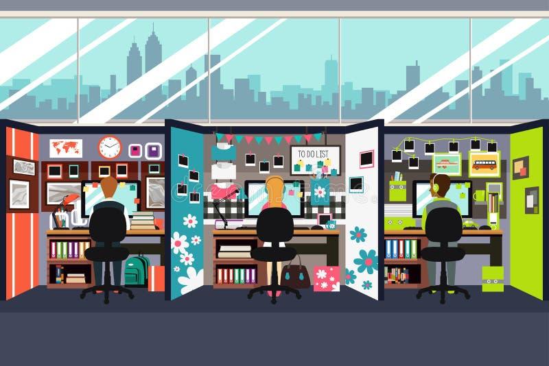 Hombres de negocios que trabajan en el ejemplo de los cubículos de la oficina ilustración del vector