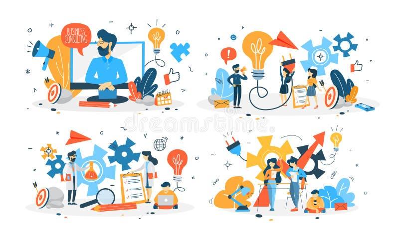Hombres de negocios que trabajan en el sistema del equipo stock de ilustración
