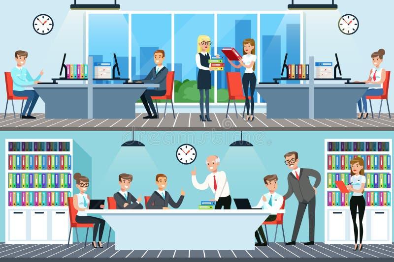 Hombres de negocios que trabajan en el sistema, los hombres y las mujeres de la oficina teniendo conferencia y encontrándose para ilustración del vector