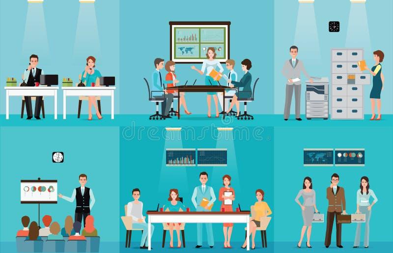 Hombres de negocios que trabajan en oficina ilustración del vector