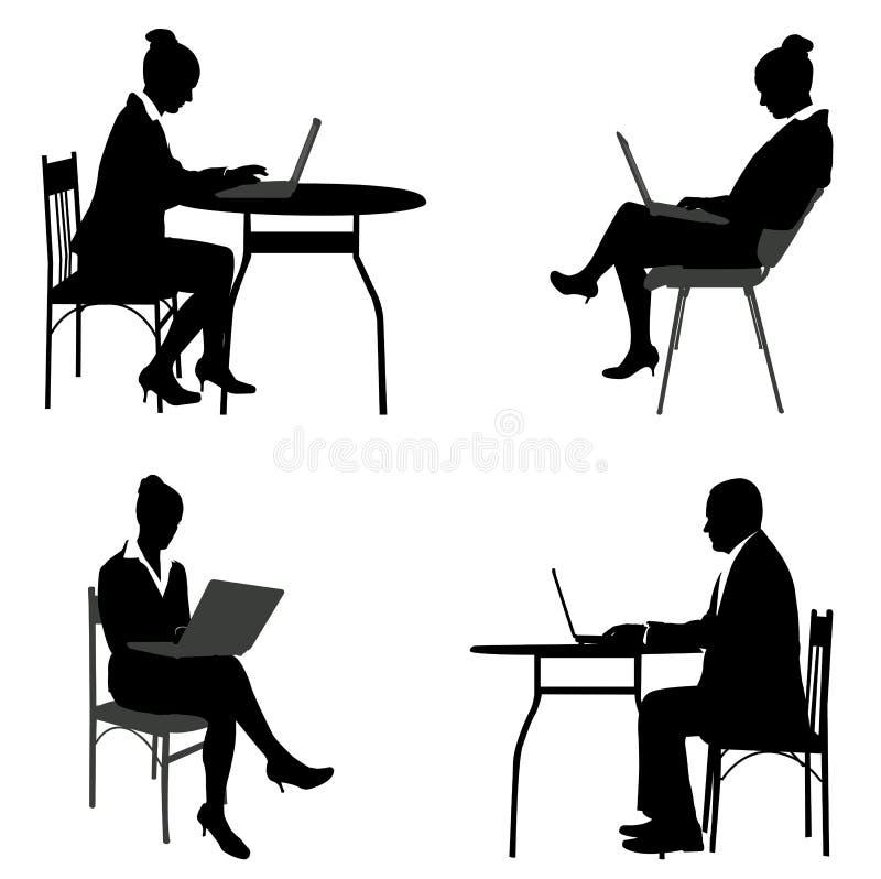 Hombres de negocios que trabajan en sus ordenadores portátiles stock de ilustración