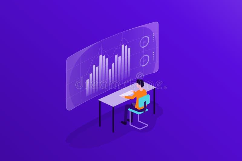 Hombres de negocios que trabajan en tablero de instrumentos del informe del monitor y el analytics de los datos para la inversión ilustración del vector