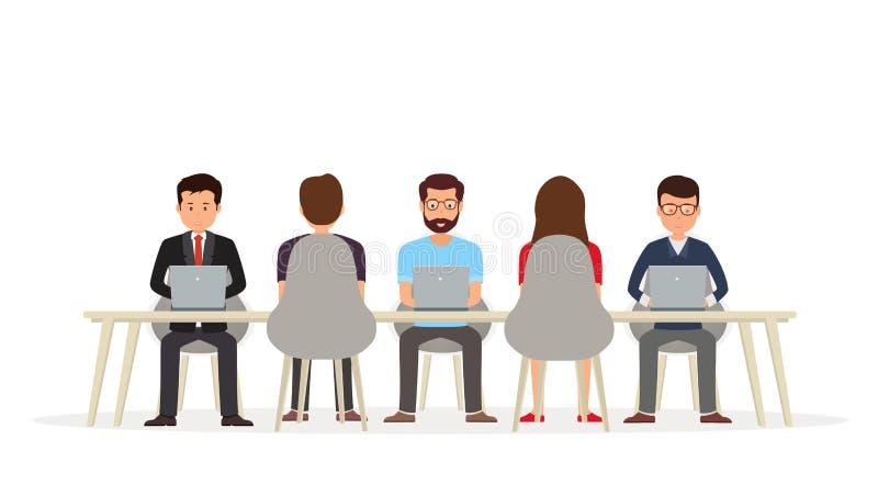 Hombres de negocios que trabajan junto en el escritorio usando un ordenador portátil libre illustration