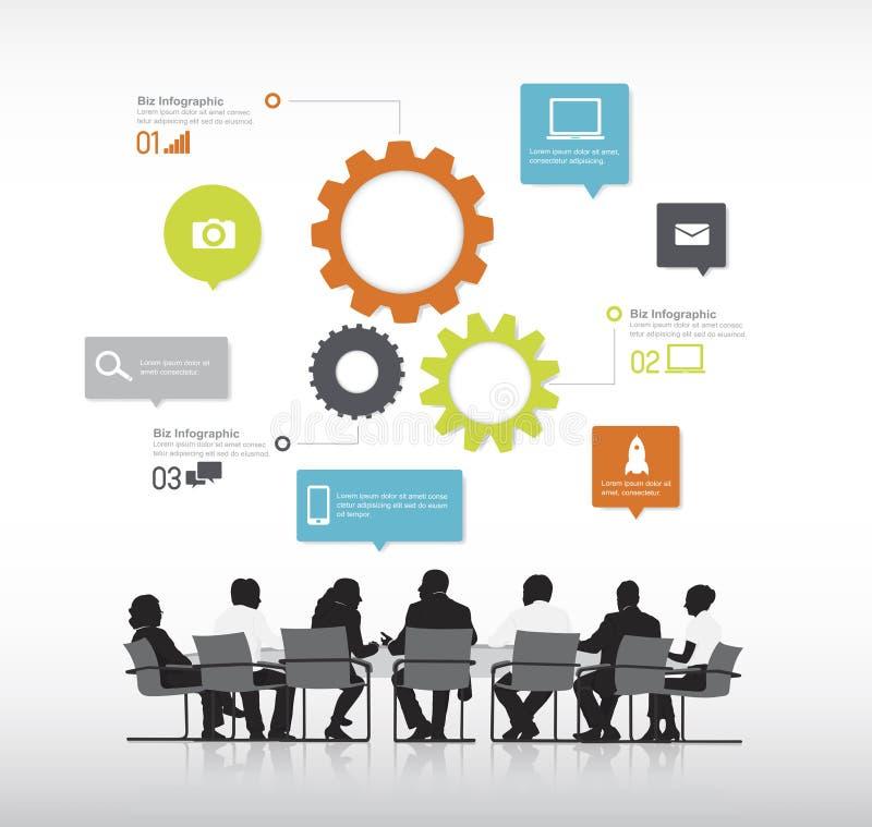 Hombres de negocios reales con vector gráfico de los elementos de la información. stock de ilustración